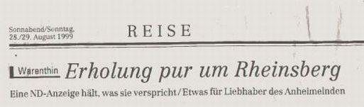 """Das Neue Deutschland berichtete über das Gasthaus """"Am Rheinsberger See"""""""